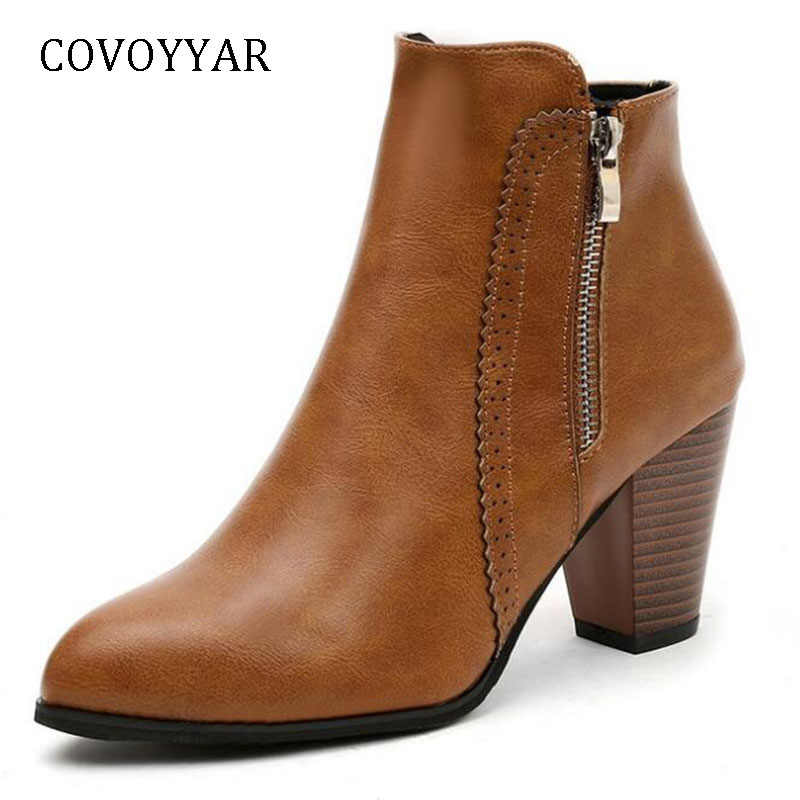 COVOYYAR Hot 2019 Retro Women Boots Vintage Block Heel Ankle Boots Side Zipper High Heels Women Shoes Big Sizes 35-43 WBS1010