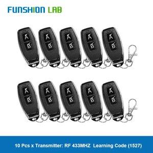 Funshion 433 mhz rf controle remoto código de aprendizagem 1527 ev1527 para portão garagem porta controlador alarme chave 433 mhz incluído bateria