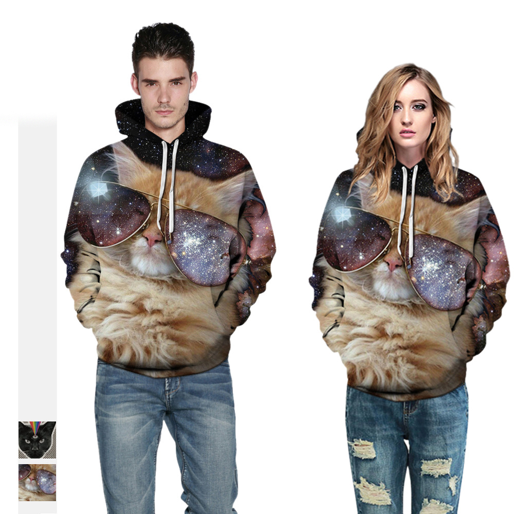 Hoodies Men Women 3D Cats Hooded Sports Pullovers Tracksuits Couples Clothing womens sports sweatershirt