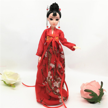 30CM Chinese tradition The Tang Dynasty royal Queen Hanfu princess dress style doll toys Gift For Girl