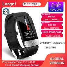 Longet T1 Smart Bracelet ECG+PPG Body Temperature Fitness Tracker Blood Pressure Waterproof Music Control Smart Band Sport