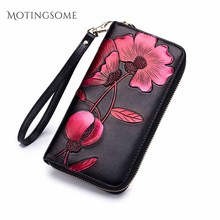 Genuine Leather Women Wallet National Style RFID Blocking Co