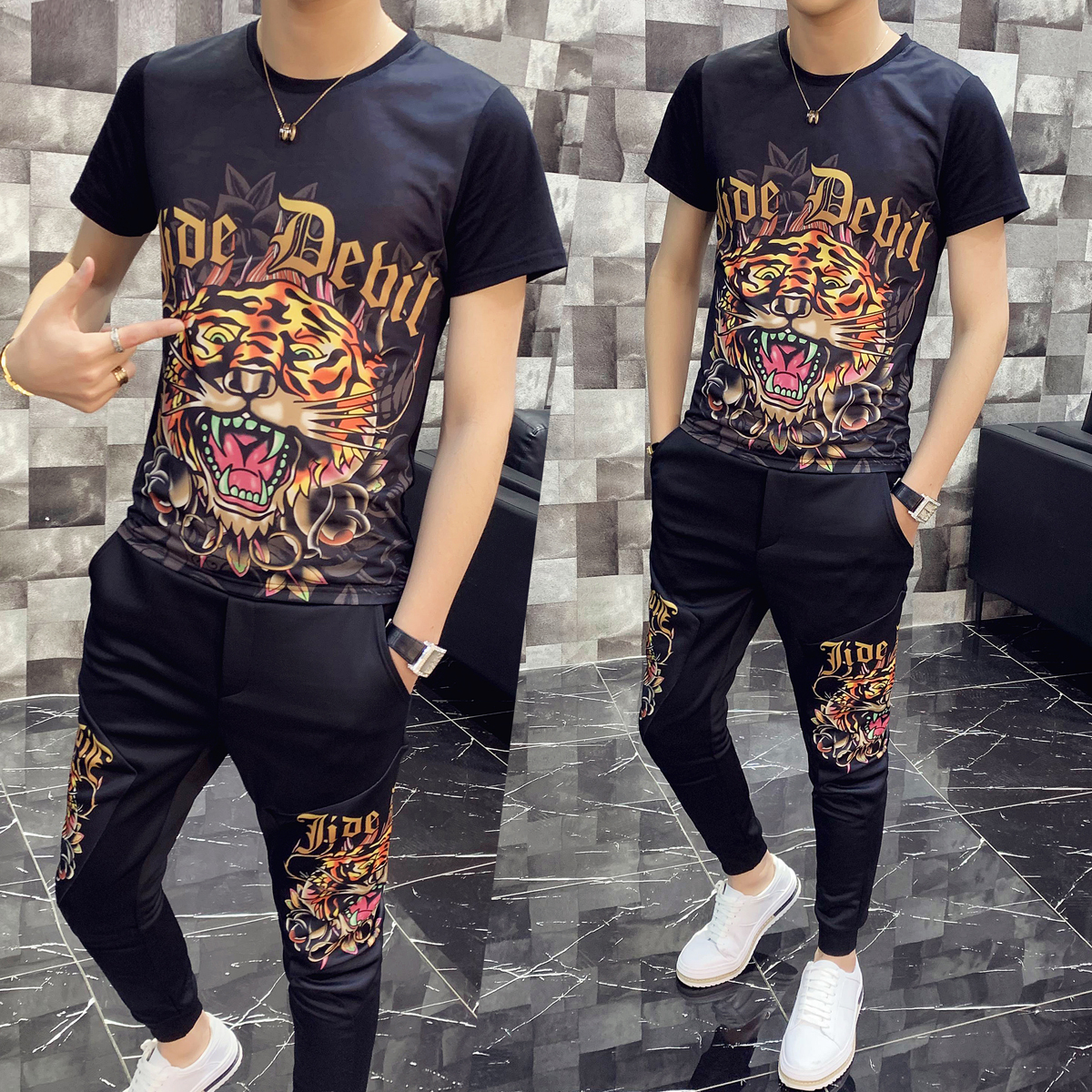 Trainingspak Heren High Quality Tracksuit Top And Pant Men Print Short Sleeve T Shirt Two Piece Set Men Slim Fit Outfits Men Set