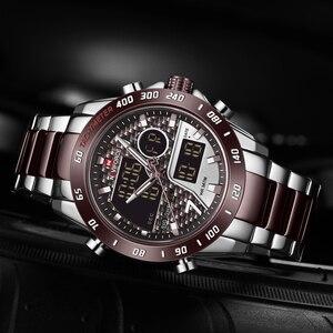 Image 2 - NAVIFORCE นาฬิกาผู้ชายแบรนด์หรูกีฬา Quartz LED Dual Display ชายนาฬิกาทหารกันน้ำนาฬิกาข้อมือเหล็กเต็มรูปแบบใหม่