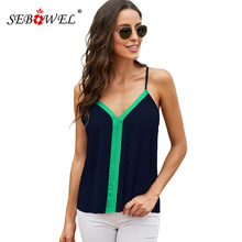 SEBOWEL Sleeveless Contrast Color Tank Tops Woman Summer V-neck Spaghetti Straps Camis Top Shirt for 2019 Female Casual Clothing contrast binding checkered tank top