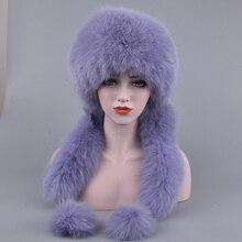 Naturalne futro z lisa Bomber kapelusze rosyjskie kobiety zimowe grube ciepłe prawdziwe futro z lisa kapelusz luksusowe pani futra lisa i czapki z futra królika