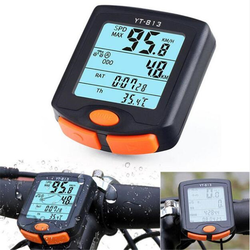 YT-813 Wired <font><b>Bike</b></font> <font><b>Speed</b></font> <font><b>Meter</b></font> Digital <font><b>Bike</b></font> Computer Multifunction Waterproof Sports Sensors Bicycle Computer Speedometer image