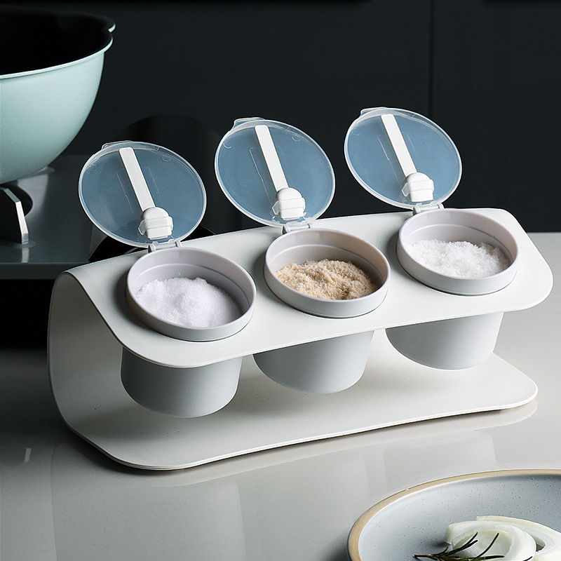 Baffect Plastic Spick Rack Kitchen Seasoning Box WIth Spoon Spice Jars Seasoning Storage Tank For Salt Candy Pepper Sauce Spices