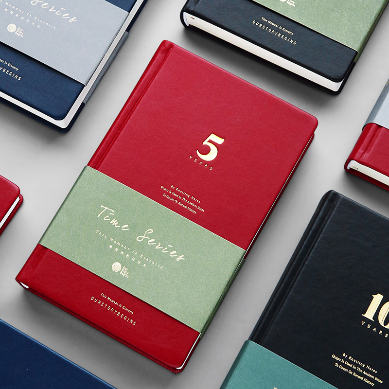 OUR STORY BEGINS Time Series Notebook Five-year / Three-year Diary Notepad A5 Vintage Creative Leather Notepad 1PCS