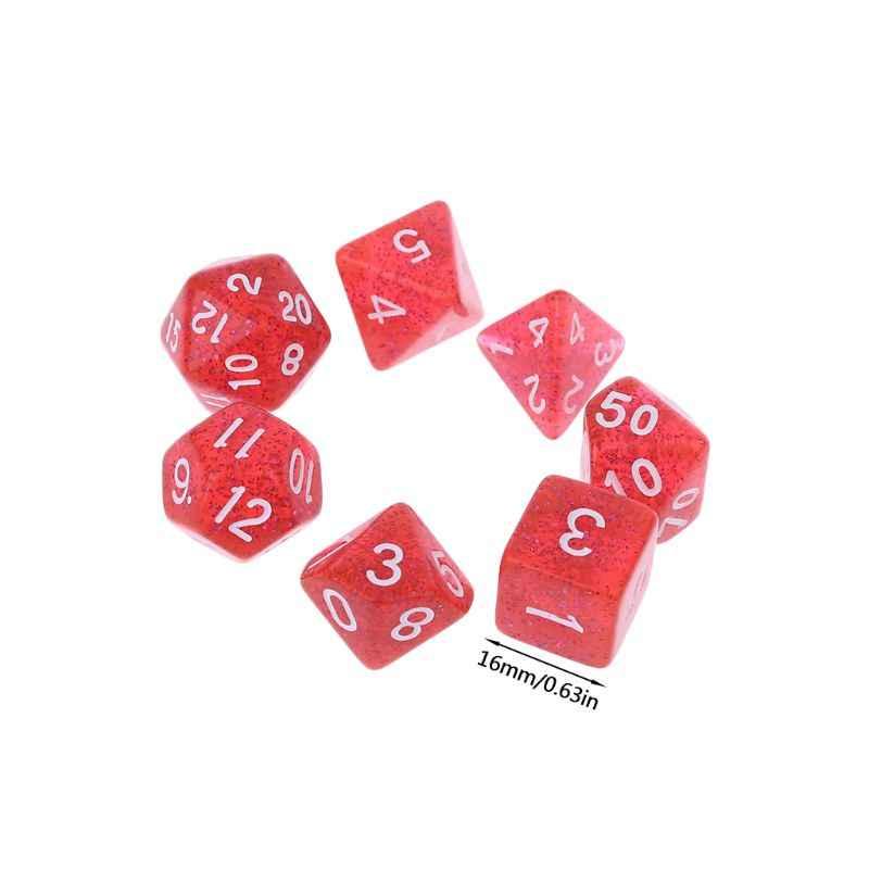 7pcs Sided Dice D4 D6 D8 D10 D12 D20 Dungeons & Dragão Placa de D & D RPG de Mesa Poli conjunto de jogos Y51D