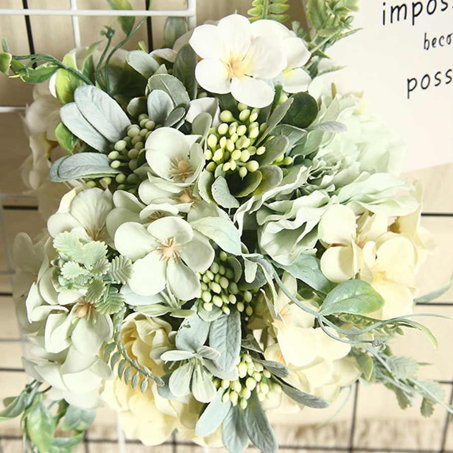 ประดิษฐ์ดอกไม้ไฮเดรนเยียสำหรับตกแต่ง Camellia ดอกไม้ประดิษฐ์ Peony Rose งานแต่งงาน DIY Decor ดอกไม้ปลอมสีขาว