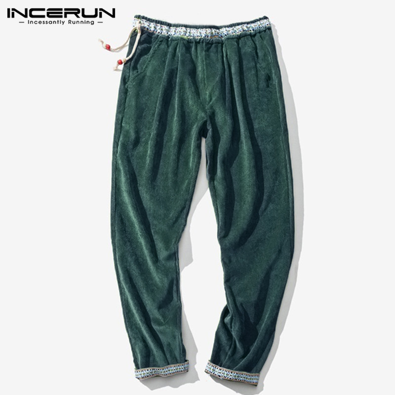 INCERUN Winter Casual Men Corduroy Pants Joggers Elastic Waist Ethnic Pockets Fashion Harem Pants Streetwear Trousers Men 2019 7