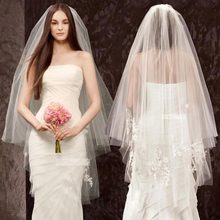 Fingertip Length Beautiful Wedding Veils Bridal Accessories 2019 Two-Layer Bridal Veils with Comb(China)