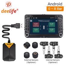 Deelife TPMS أندرويد نظام مراقبة ضغط الإطارات الغيار الإطارات الداخلية الخارجية الاستشعار عن سيارة مشغل دي في دي مزود براديو USB TMPS