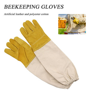 Image 1 - Beekeeping Gloves Protective Sleeves Ventilated Professional Sheepskin And Canvas Anti Bee For Apiculture Beekeeping Gloves