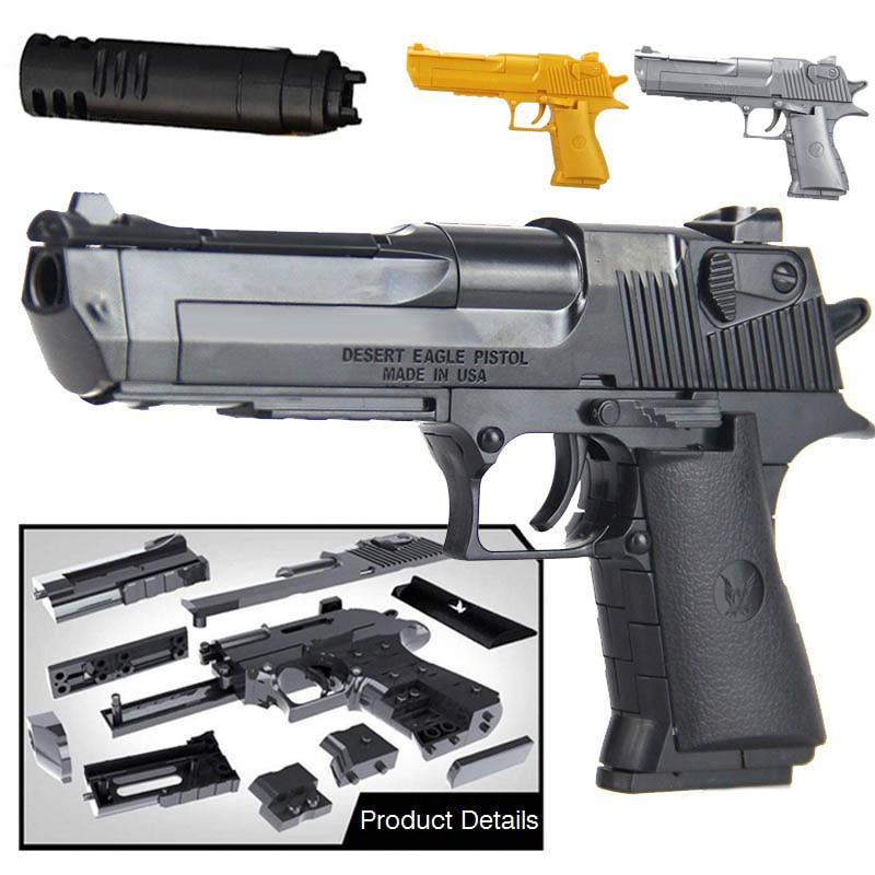 >43Pcs 1:10 DIY <font><b>Building</b></font> <font><b>Blocks</b></font> <font><b>Model</b></font> Toys Weapon Desert Eagle Wtih Bullet Plastic Pistol <font><b>Model</b></font> Gun Toys Gifts For Children Kid
