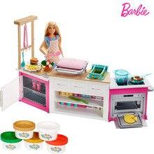Barbie super cozinha ultimate cozinha boneca cozinhar cozimento brinquedo para playset crianças brinquedo popular presentes de natal frh73