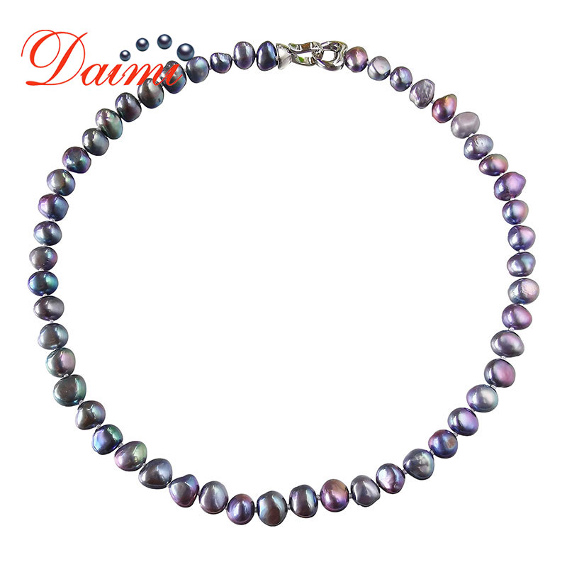 DMNFP407 Natural Freshwater Pearl Necklace Black/White/Pink/Purple Pearl Necklace Fine Pearl Jewelry For Women