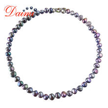 DMNFP407 Natural Freshwater Pearl Necklace Black/White/Pink/Purple Pearl Necklace Fine Pearl Jewelry For Women(China)