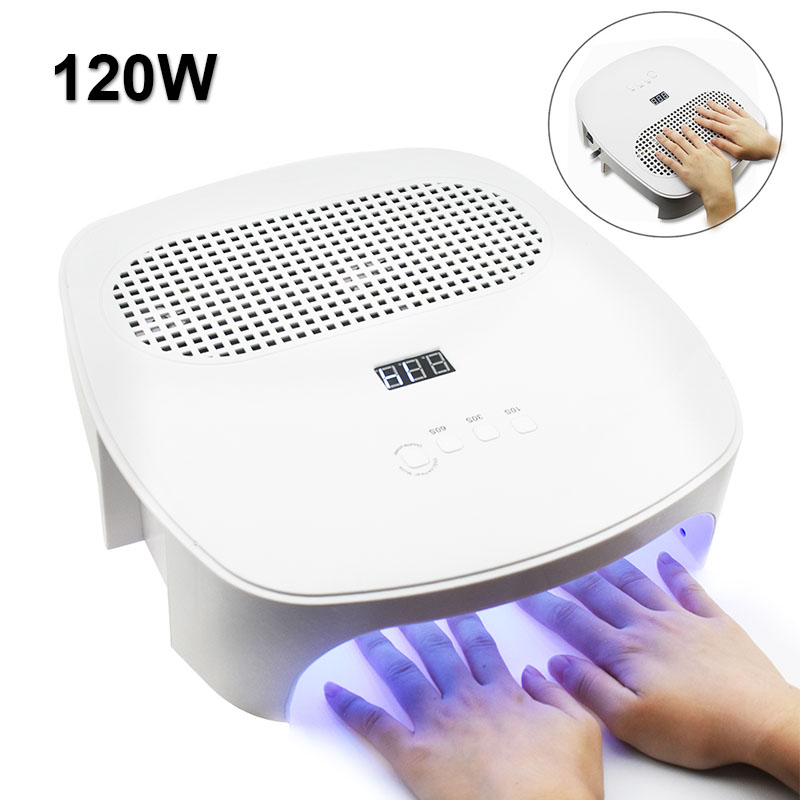 120W 2 In 1 LED Nail Lamp With Nail Dust Collector 2 Fan Vacuum Cleaner For Manicure Tool Auto Sensing Nail Dryer For Nail Gel