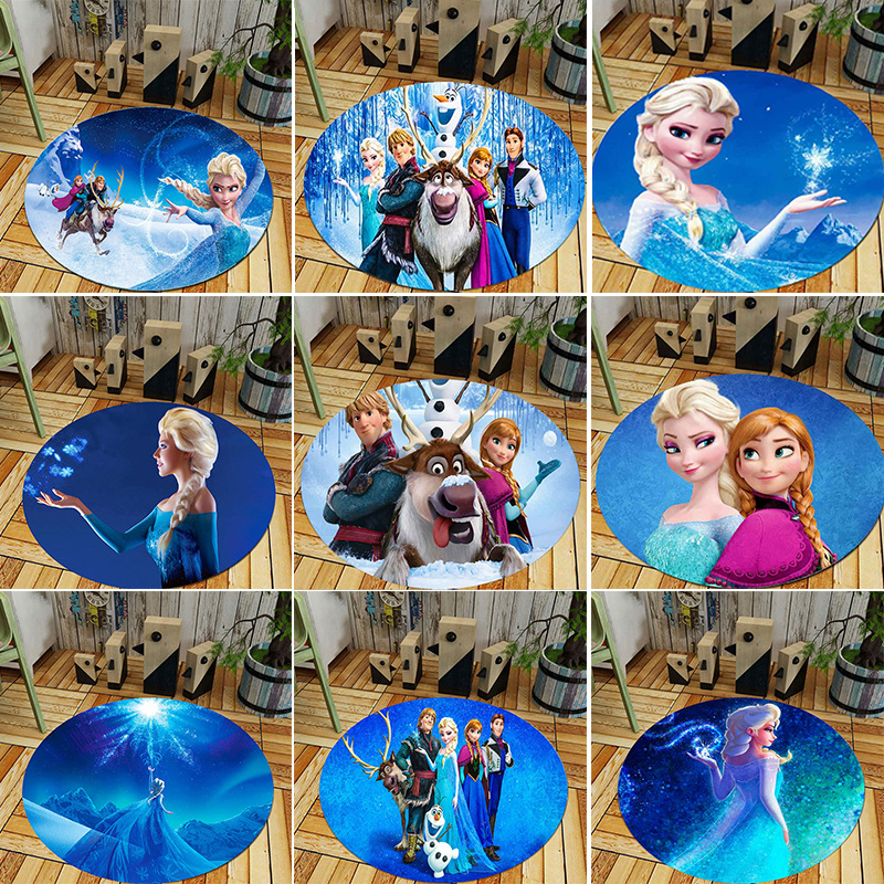 Hot Frozen 9 Style Princess Anna Elsa High Quality Cartoon Round Printed Carpet Fever Bedroom Door Toys For Children