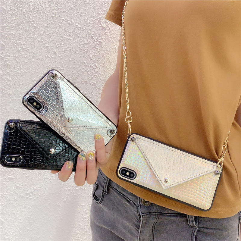 Credit Card Phone Case Wallet Crossbody Long Chain For IPhone 11 Pro XR X XS Max 7 8 6S Plus Snake Skin Texture Cover With Strap