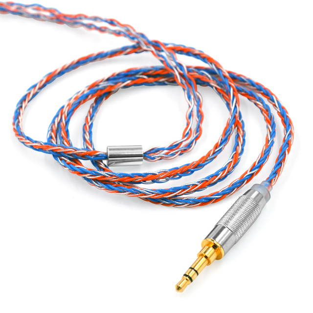 CCA C2  MMCX 2PIN Orange Blue Braded Silver Cable 8 Core Upgraded  Plated Cable Earphone   for CCA C10 CA4 AS16 zsn pro ZS10 Pro