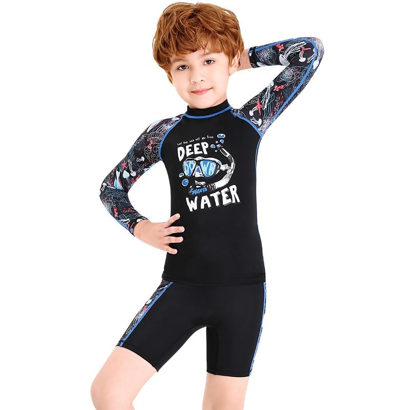 Boys One Piece Rash Guard Swimsuits Kids Long Sleeves Sunsuit Swimwear Sets
