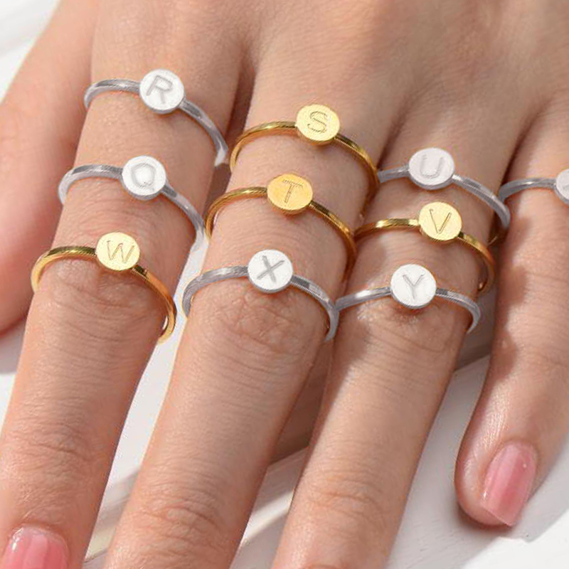 Letter ring stainless steel couple rings for women finger female ring letter set engagement love gold silver