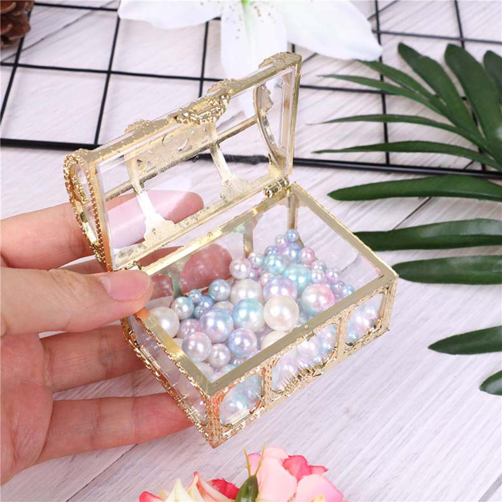 New Christmas Plastic Casket Transparent Storage Box Crystal Gem Candy Box Organizer Chest Jewelry Trinket Box Wedding Gifts