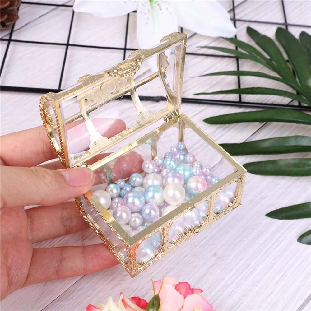 New Christmas Plastic Casket Transparent Storage Box Crystal Gem Candy Box Organizer Chest Jewelry Trinket Box Wedding Gifts