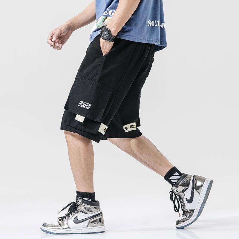 Streetwear Summer Casual Shorts Men Pockets Mens Cargo Shorts Cotton Bermuda Knee Length Patchwork Men's Shorts