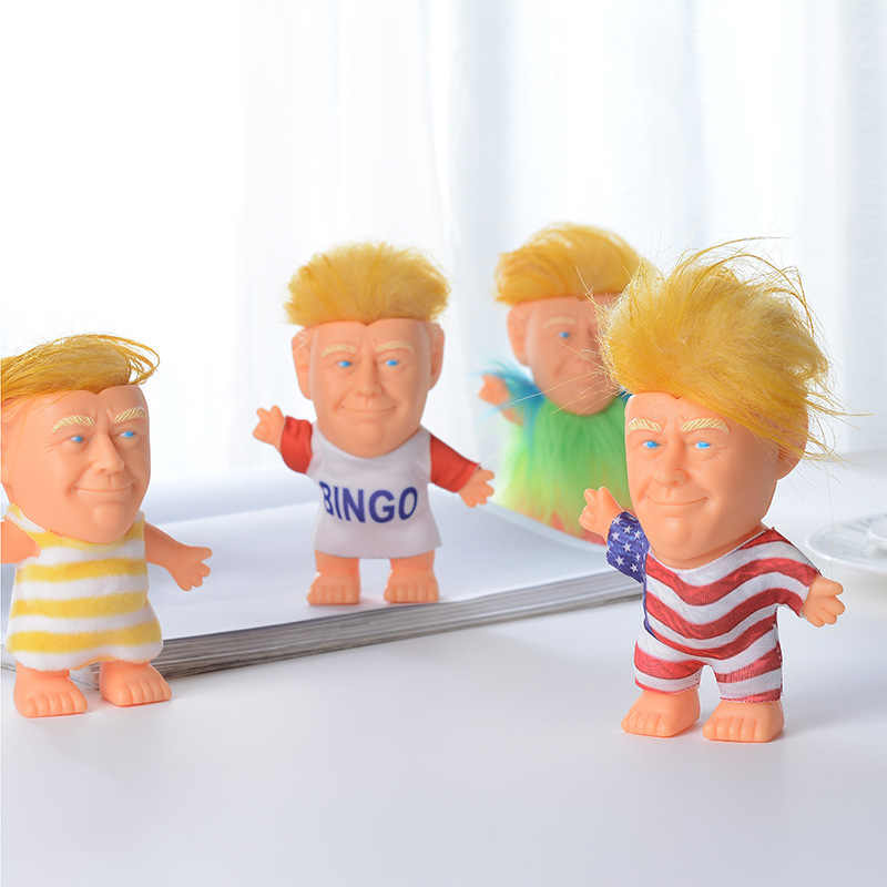 Us Donald Trump Funny Doll Toy President Model Kids Cute Doll Toy Evade Glue Changing Clothes Funny Hair Doll Toy Garage Kits