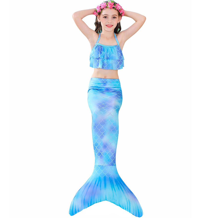 H9dccc9eba99849fcbf341f0c859b981bP - Kids Swimmable Mermaid Tail for Girls Swimming Bating Suit Mermaid Costume Swimsuit can add Monofin Fin Goggle with Garland