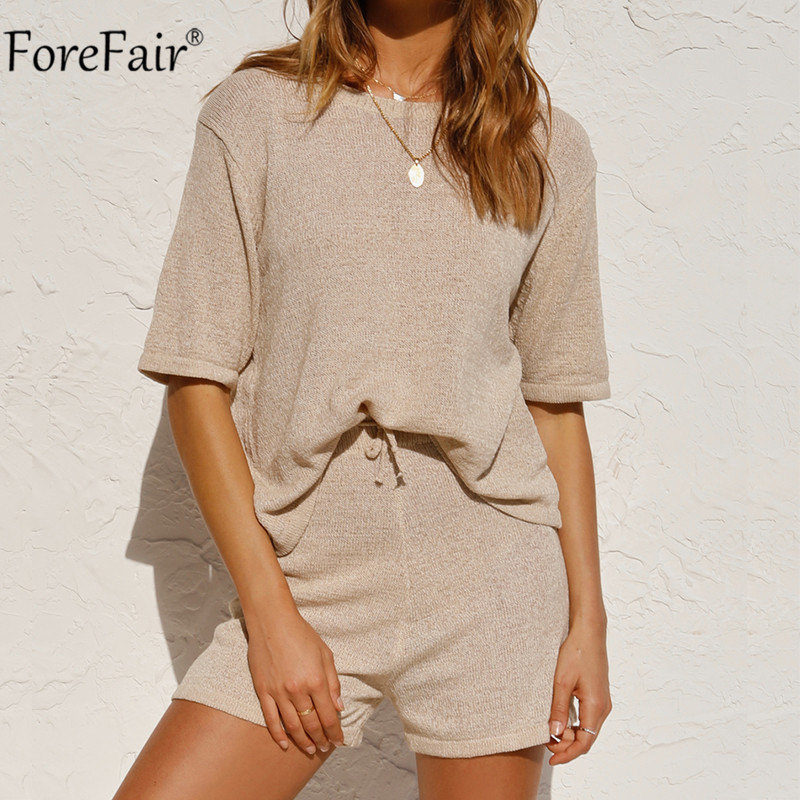 Forefair O Neck Tracksuit Women Summer 2020 Shorts Knit Sleeve T Shirt Loose And Casual Shorts Pants Two Piece Set Outfits