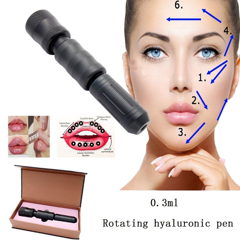 Rotating meso injection gun hyaluronic pen 0.3ml black hyaluronique acid pen face lip filler injector Noninvasive Nebulizer