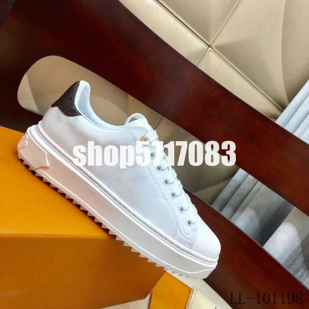 2019 Top Brand Designer Classic Embossed Fashion Women's Small White Shoes Ladies Casual Sneakers Genuine Leather Louie Vuiton