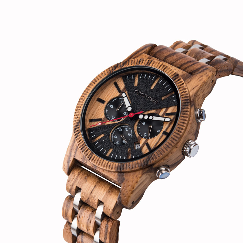 DODO DEER Men's watch Wood Watches Men clock Business Luxury Stop Watch Color Optional with Wood Stainless Steel Band reloj C08