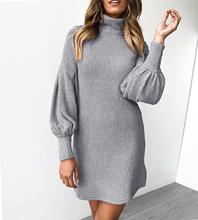 Women Latern Sleeve Vintage Winter Sweater Dress Outfits  Solid Turtleneck Knitted Short Wrap Plus Size