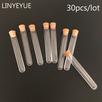 30 pieces/pack 15*100mm Transparent  Plastic Test Tube With Cork stopper 4-inch Laboratory or Wedding favours spices Tube 100 pcs pack 20 150mm hard transparent plastic test tube with cork cap