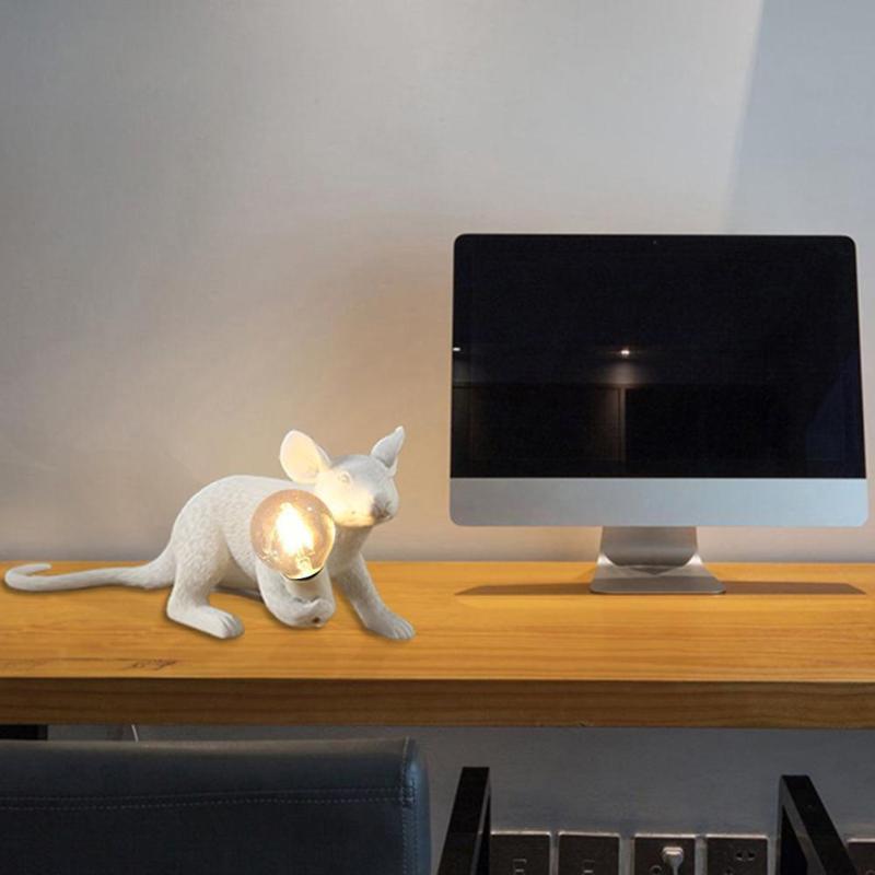 Смола Мышь светодиодный Ночной светильник творческий белая крыса детская Спальня прикроватная настольная лампа домашний декоративный орн...