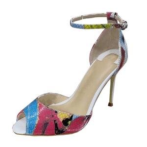Image 4 - Tamanho 34 45 couro genuíno dedo do pé aberto duas peças tornozelo cinta doce borboleta impressão stiletto salto alto sandálias femininas sapatos