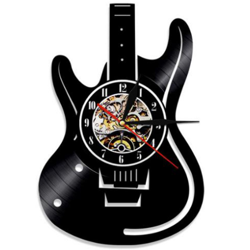 Creative Vinyl Record 12-Inch Wall Clocks Living Room Study Retro Guitar Wall Clocks Mute Custom Clocks