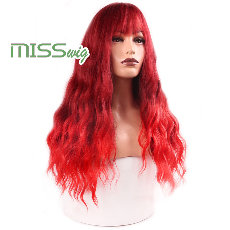 Image 3 - MISS WIG Long Wavy Wigs for Black Women African American Synthetic Hair red Brown Wigs with Bangs Heat Resistant WigSynthetic None-Lace  Wigs   -