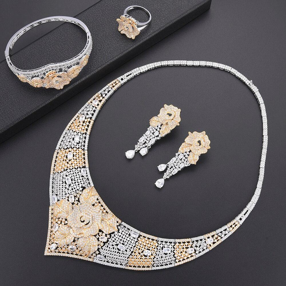 Bijoux de luxe en zircone cubique LARRAURI pour femmes breloques à la mode déclaration collier fleur/bracelet/bague/boucles d'oreilles ensembles de bijoux