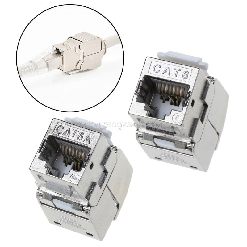 RJ45 Keystone Cat6 Cat6A Shielded FTP Zinc Alloy Module Keystone Jack Network Connector Adapter Au13 19 Droship