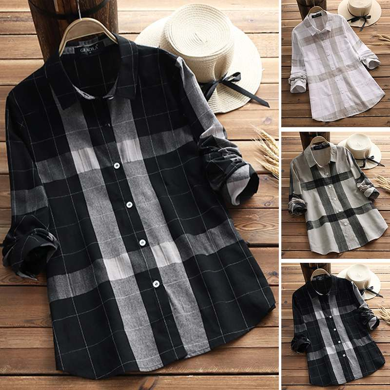 Plus Size Tunic Women's Check Blouse 2019 Casual Plaid Tops Female Button Lapel Shirts Chemise Office Work Blusas Woman Tops 5XL