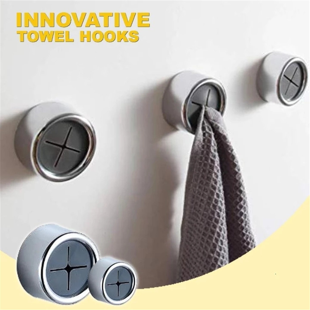 Invincible Hook-free Towel Creative Hook Set Free Punch Kitchen Bathroom Door L0923