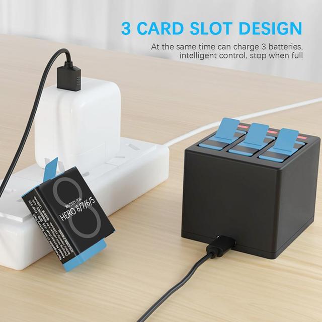 Anjielosmart Fast Charging Black Battery or Triple Charger for GoPro Hero 8 Hero 7 Hero 6 Hero 5 Black Camera Battery 3