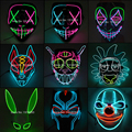Горячая Распродажа, светодиодный маскарадный костюм на Хэллоуин, вечерние маскарадные маски, маска ужаса, неоновая EL, светодиодный светиль...